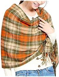 bd745f41faa7 heekpek Châle Crochet Femmes Hiver Châle Femme Hiver Grande Écharpe Gland à Carreaux  Pour Femmes Châle En Cachemire Écharpe…