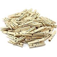 com-four 100x naturbelassene Wäscheklammern, stabile Wäscheklammern aus hochwertigem Birkenholz (100 Stück)