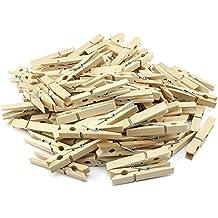 COM FOUR® - 100pinzas de la ropa de madera, 2unidades de 50piezas