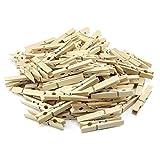 COM-FOUR® 100x naturbelassene Wäscheklammern, stabile Wäscheklammern aus hochwertigem Birkenholz (100 Stück)