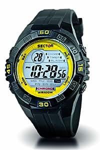 Sector Expander - R3251272315 - Montre Homme - Quartz Digitale - Lunette Jaune  - Chronographe - Bracelet Caoutchouc Noir