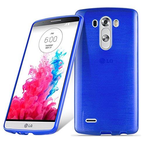 Preisvergleich Produktbild Cadorabo DE-104979 LG G3 Handyhülle aus TPU Silikon in gebürsteter Edelstahloptik (Brushed) Blau