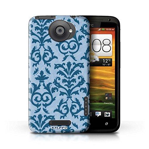 Kobalt® Imprimé Etui / Coque pour HTC One X / Rose conception / Série Motif de défilement Bleu