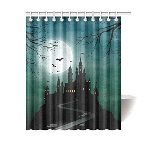 InterestPrint Full Moon Nacht Home Decor, Halloween Haunted Castle Polyester Stoff Vorhang für die Dusche Badezimmer-Sets mit Haken 182,9 x 182,9 cm, Textil, Multi, 60 X 72 inch