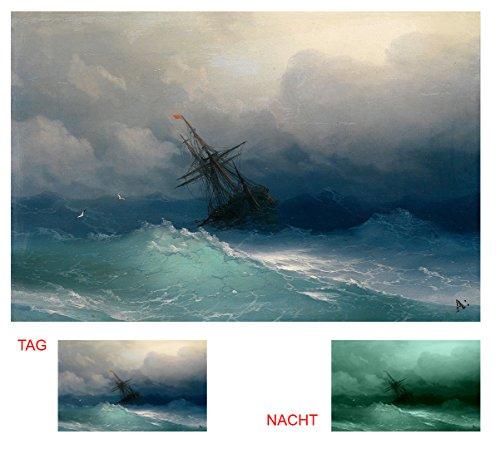 Startonight Leinwand Wand Kunst Aivazovschy Schiff auf stürmischer See, Doppelansicht Überraschung Modernes Dekor Kunstwerk Gerahmte Wand Kunst 100% Ursprüngliche Fertig zum Aufhängen 80 x 120 CM