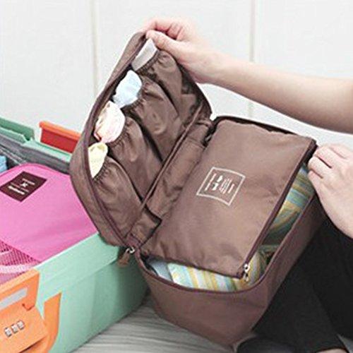 THEE Reise Kosmetiktasche Aufbewahrungsbeutel Damen Unterwäsche Tasche Makeup Organizer Kaffee