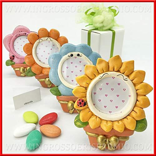 Ingrosso e risparmio portafoto a forma di vaso con grande fiore in resina colorata, bomboniere utili, originali, battesimo, compleanno femminuccia (con confezione rosa)