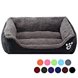 Urijk Soft Washable Dog Cat Bed, Waterproof Oxford Dog Basket Bed for Puppy Small Medium Large Dog Cat, Soft Warm Fleece Dog Cuddler Bed Bolster Lounge with Non Slip Water Resistant Base