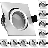 10er LED Einbaustrahler Set Aluminium matt mit LED GU10 Markenstrahler von LEDANDO - 5W DIMMBAR - warmweiss - 110° Abstrahlwinkel - schwenkbar - 35W Ersatz - A+ - LED Spot 5 Watt - Einbauleuchte LED e