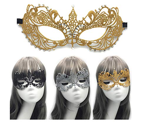 Gra Kostüm Plus Größe Mardi - HYXGG Party Lace Maske Halloween Mit Halbgesichtsform Plus Diamant Sexy Silber Maskerade Maske - Gold