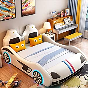 ZXM Children's car bed solid wood multi-function running lathe single boy girl cartoon creative leather belt Toddler Bed With mattress, stereo, LED lights (Color : White, Size : 180 * 200cm)   3
