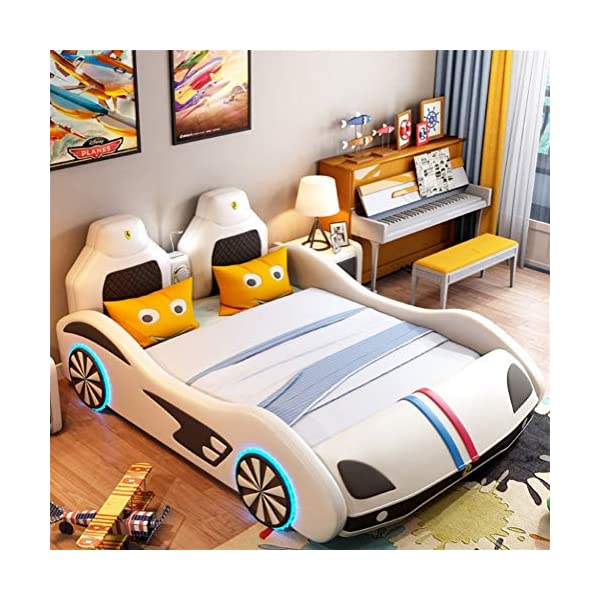 ZXM Children's car bed solid wood multi-function running lathe single boy girl cartoon creative leather belt Toddler Bed With mattress, stereo, LED lights (Color : White, Size : 180 * 200cm) ZXM ★ High quality solid wood: the internal frame is made of high quality solid wood, which has been dried for many times at high temperature to prevent mildew, deformation, cracking, and is strong and durable. With high quality Napa leather, silky, soft and wear-resistant. ★ The bedside led induction light can identify the brightness of the surrounding environment.The induction function can be turned on only under the touch condition, which can save power and stand by for a long time. Smart Bluetooth Audio: can play music, bedtime story, give children more company. Wheel light, anti-collision at night ★ Attached Guardrails: Attached guardrails will ensure your little one is safe and secure throughout the night. A low mattress height makes it easy for kids to enter and exit on their own, reinforcing their big-kid independence. 1
