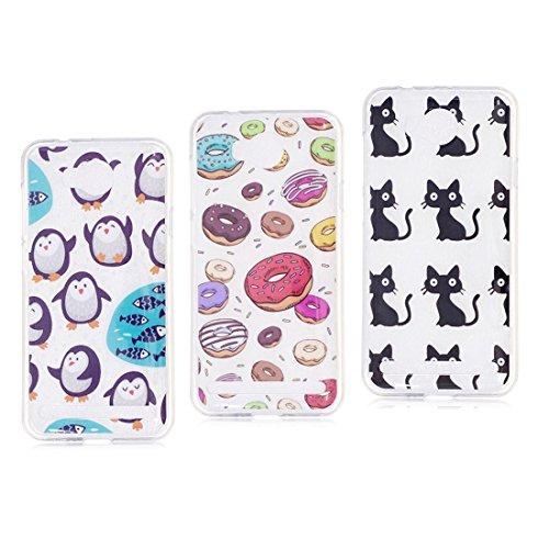 Huawei Y3 II hülle, Schützende Weiche Voller Körper 360 Grad TPU Gel Transparentes Silikon handyhülle für Huawei Y3 2 Autoabdeckungen Clear Case [Pinguin+Katze+Krapfen Donuts]