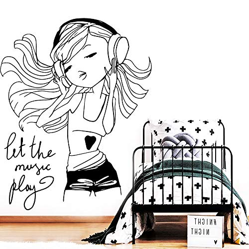 Cooles kleines Mädchen Vinyl Selbstklebende Tapete Für Kinderzimmer Kinderzimmer Dekor Haus Dekoration Zubehör Dekorative vinyl 42X53CM