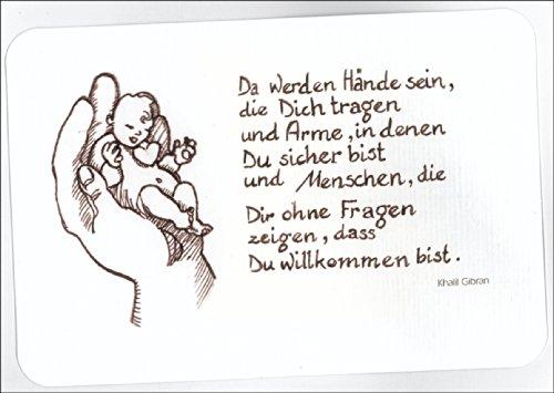 wunderschöne Babykarte: Da werden Hände sein… auch als Tauf Karte • auch zum direkt Versenden mit ihrem persönlichen Text als Einleger.