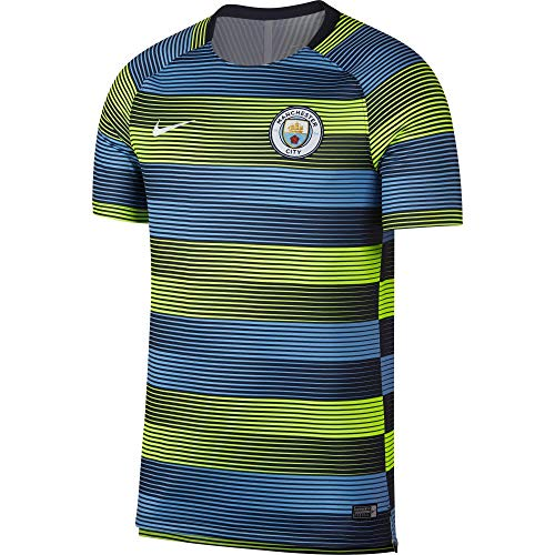 Nike Manchester City FC Dry Squad Camiseta, Hombre, Volt/Field Blue/Dark Obsidian/White, Medium