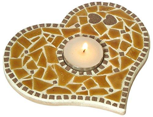 ALEA Mosaic Kit de mosaïque, bougeoir, 15 CM, jaune miel