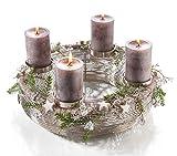 Moderner Metallkranz - D30cm / H13cm - Silber - Adventskranz aus Edelstahl für 4 Kerzen - Hochwertige Weihnachtsdeko
