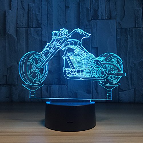 LT&NT Lampe 3D Moto Illusion d'Optique LED Lights Table Lampe veilleuse 7 Couleurs changeantes USB Tactile Distant noël Cadeaux d'Anniversaire pour Les Enfants -Touch + Télécommande