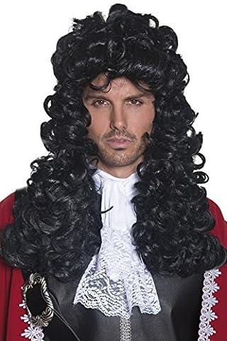 Smiffys Homme, Perruque de capitaine pirate, Noir, cheveux longs et bouclés, 42041