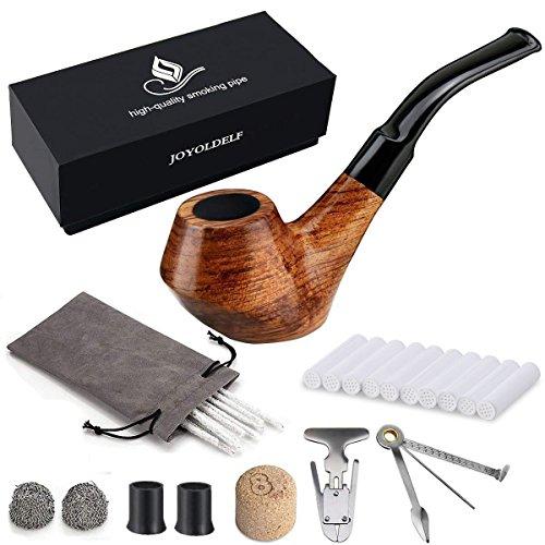 joyoldelf Set da pipa per tabacco, pipa da fumo, Set Pipa in legno creativo con detergente per pipe, accessori per pipa, borsellino da sacco con scatola regalo