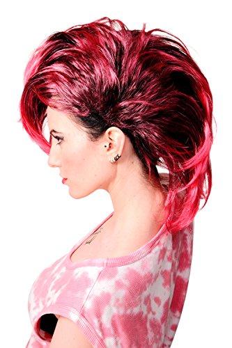 8-1-P103PC41 Perücke Faschingsperücke Karneval Punk Glam Vamp Mohawk Iro Auftoupiert Schwarz Pink ()