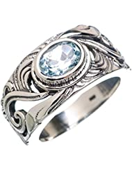 Blue Topaz, Topacio Azul 925 Plata de Ley Ring 9