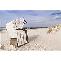 Bild Strand Meer Nordsee Leinwand  Poster XXL 120 cm*80 cm 670 Strandkörbe