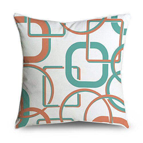 Fabricmcc mid-century Teal Orange collegato cerchi box Square Accent decorative throw Pillow case cuscino 18 x 18