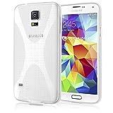 NALIA Handyhülle für Samsung Galaxy S5 Mini, Ultra-Slim Silikon Case, Dünne Schutz-Hülle, Etui Handy-Tasche Back-Cover Bumper, TPU Gummihülle für Samsung S-5Mini Phone - X-Line Transparent