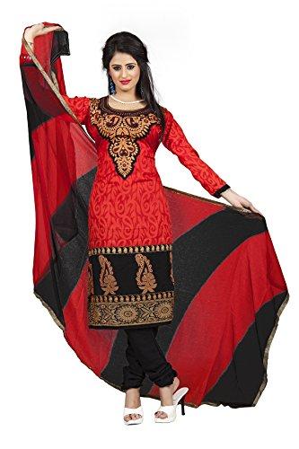 DivyaEmporio Women's Faux Crepe Red & Black Salwar Suit Dress Material