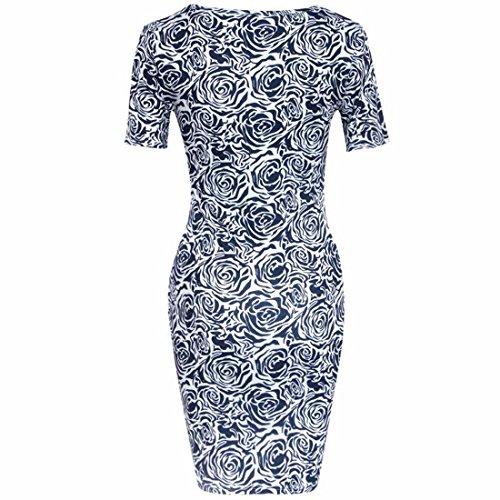 QIYUN.Z Femmes Minces Sexy Manches Courtes Bleu Floral Bodycon Print Party Dress Crayon Bleu