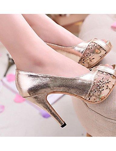 WSS 2016 Chaussures Femme-Décontracté-Noir / Or-Talon Aiguille-Talons-Chaussures à Talons-Polyuréthane golden-us6.5-7 / eu37 / uk4.5-5 / cn37