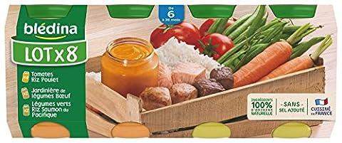 Blédina Pack de 4 Tomates Riz Poulet + 2 Jardinière de Légumes Boeuf + 2 Légumes Verts Riz Saumon du Pacifique 1,6 kg Packaging Aléatoire