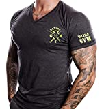Fitness T-Shirt Herren - V-neck - Geeignet Für Workout, Training - Slim Fit - Farbe Anthrazit - Satire Gym (XL, anthrazit - neon grüner Stick)