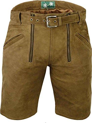 Kurze Lederhose mit gürtel- Lederhose Herren kurz inklusive gürtel, Damenhose aus echt Leder Nubuk Zunfthose in Camel, Zimmermannshose Leder