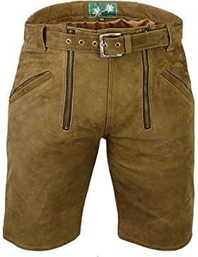 Kurze Lederhose mit gürtel- Lederhose Herren kurz inklusive gürtel, Damenhose aus echt Leder Nubuk Zunfthose in...