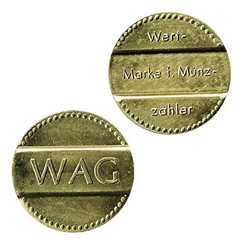 WAG marca di lavaggio, AEG marca di valore Token per contatore di monete e cassaforte, VE = 50, prezzo base 1,38 €/pezzo