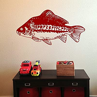 LaoGraphics® Carp Fishing Little Boys Wall Stickers, Kids Vinyl Art Transfers, Childrens Interior Decal Graphics, Removable Lads Bedroom Décor, Toddler / Teen Gift Idea zzz-bo25 from LaoGraphics