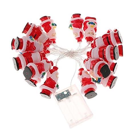 MagiDeal Guirlandes Lumineuses Forme en Père de Noël en Plastique Lampe LED Décoration en Fête Noël par Pile Hydrofuge