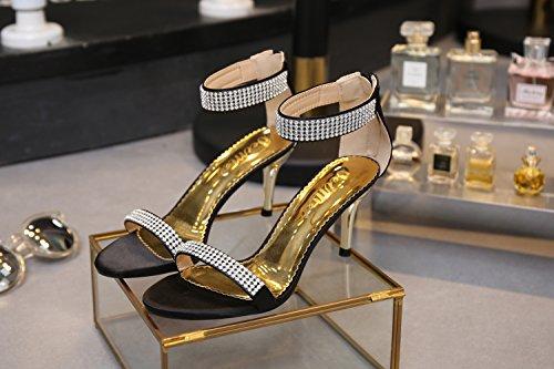 SEXYHER Mode 3.5IN Talons Bureau De Sandales Femmes Chaussures Noir