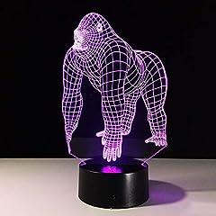 Idea Regalo - HGASWD Lampada 3D Gorilla animale LampadinaLEDcoloratoUSB regalo da regalo per bambini