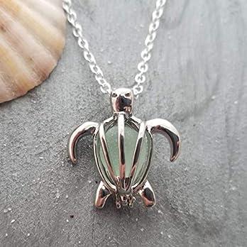 """Hawaii Schmuck, Edel""""Hawaiian Green Sea Turtle"""" Wunsch Medaillon Halskette mit natürlichen seeglas, (Hawaii Gift Wrapped, individuell gestaltete Geschenk-Message)"""
