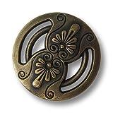 Knopfparadies - 6er Set altmessingfarbene Ösen Metallknöpfe mit floralen Elementen