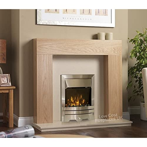 Electric Oak Surround Cream Stone Marble Silver Flame Fire Flat Wall Big Modern LED Fireplace Suite Large Lights…