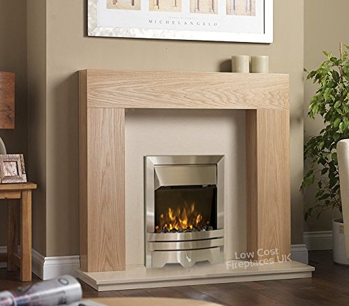 51WPg44vQpL - Electric Oak Surround Cream Stone Marble Silver Flame Fire Flat Wall Big Modern LED Fireplace Suite Large Lights…