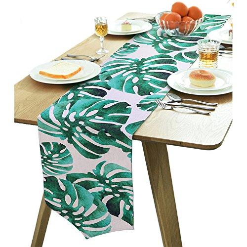 Aytai Baumwolle Leinen Tischläufer 30,5x 215,9cm grün Palm Leaf Tischläufer für Home Tisch Dekoration, Hawaiian tropischen Dschungel Thema Party Party Supplies