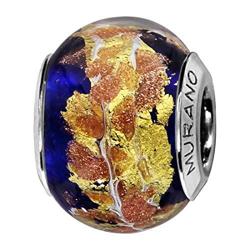 So Chic Joyas© Charm cristal de Murano azul oscuro dorado plata 925-Compatible con Pandora, Biagi, Chamilia, Biagi