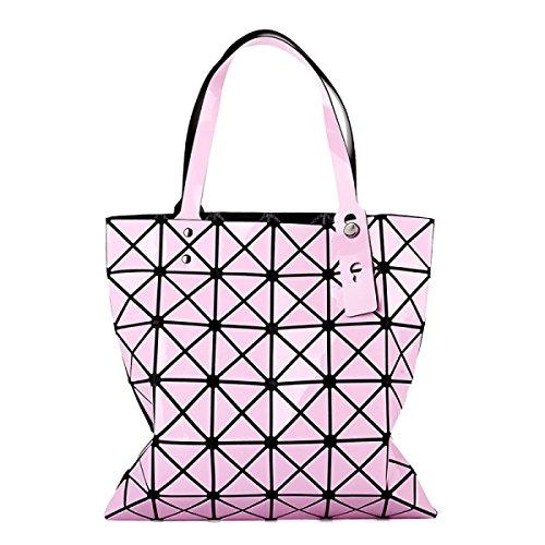 Für Frauen Checkered Tragetasche PU Leder Geometric Diamant Split Joint Pink2