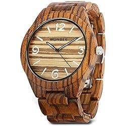 Reloj de madera Wonbee para hombres y mujeres-Artesanía hecha a mano relojes de madera-banda de madera del reloj –bisel de madera- reloj de pulsera de cebra- serie ARABTOON